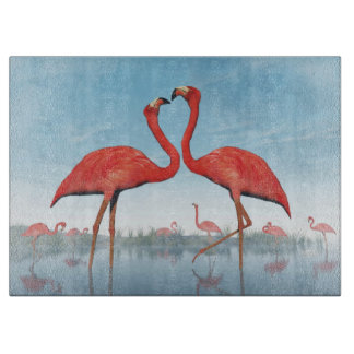 Flamingos courtship - 3D render Cutting Board
