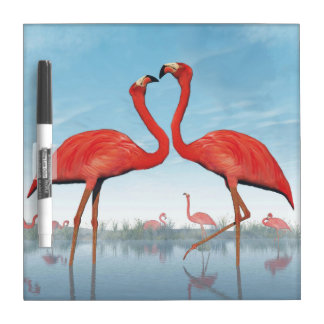 Flamingos courtship - 3D render Dry Erase Board