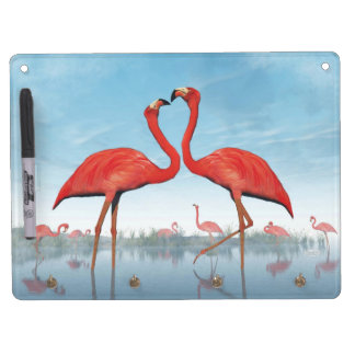 Flamingos courtship - 3D render Dry Erase Board With Keychain Holder
