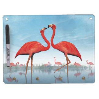 Flamingos courtship - 3D render Dry-Erase Whiteboards