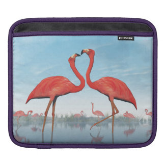 Flamingos courtship - 3D render iPad Sleeve
