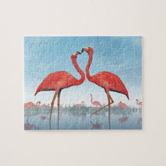 Flamingos courtship - 3D render Jigsaw Puzzle