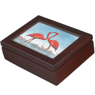 Flamingos courtship - 3D render Keepsake Box