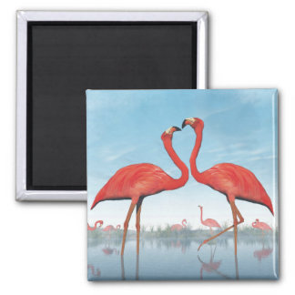 Flamingos courtship - 3D render Magnet