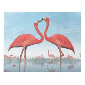 Flamingos courtship - 3D render Notepad