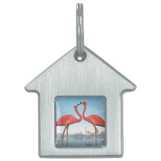 Flamingos courtship - 3D render Pet Name Tag
