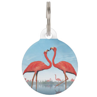 Flamingos courtship - 3D render Pet Tag