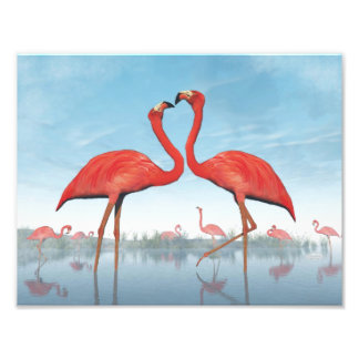 Flamingos courtship - 3D render Photo Print