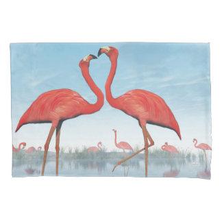 Flamingos courtship - 3D render Pillowcase