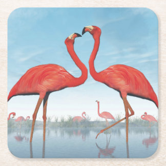 Flamingos courtship - 3D render Square Paper Coaster