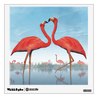 Flamingos courtship - 3D render Wall Decal