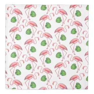 Flamingos Dance White Pattern Duvet Cover