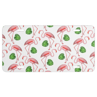Flamingos Dance White Pattern License Plate