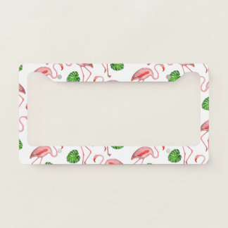 Flamingos Dance White Pattern License Plate Frame