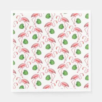 Flamingos Dance White Pattern Napkin