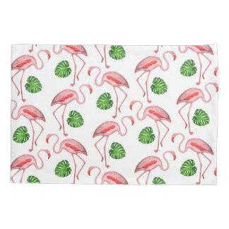 Flamingos Dance White Pattern Pillowcase