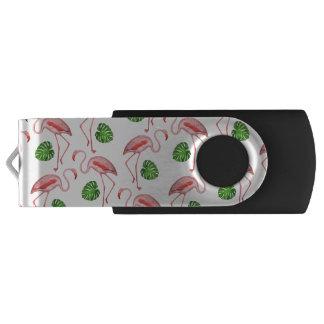 Flamingos Dance White Pattern USB Flash Drive