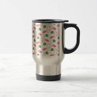 flamingos dance white travel mug