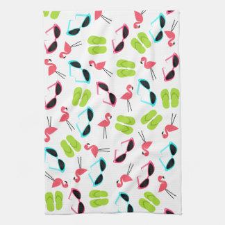 Flamingos Flip Flops & Sunglasses Kitchen Towel