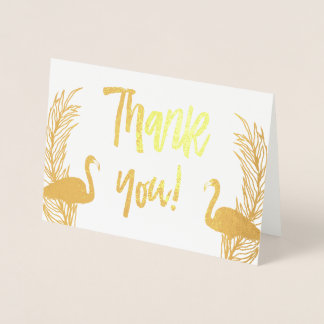 Flamingos Gold Foil Thank You Foil Card