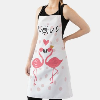 Flamingos In Love Apron