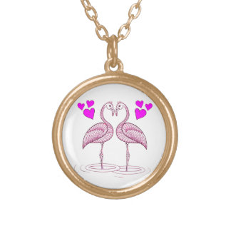 Flamingos in Love Gold Plated Necklace