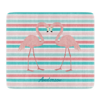 Flamingos in Love Personalized Cutting Board