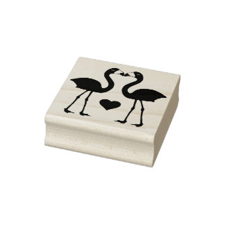"""""""Flamingos in Love"""" Rubber Stamp"""