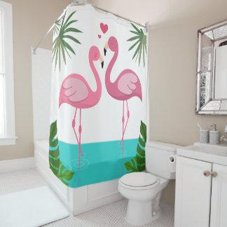 Flamingos In Love Shower Curtain
