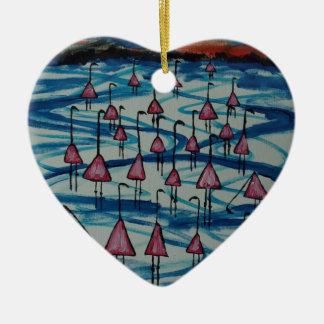 Flamingos in salty lake ceramic ornament