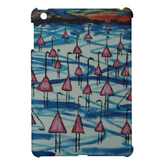 Flamingos in salty lake iPad mini cover