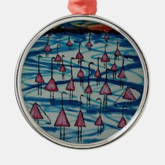 Flamingos in salty lake metal ornament