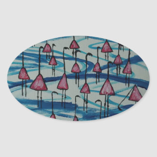 Flamingos in salty lake oval sticker