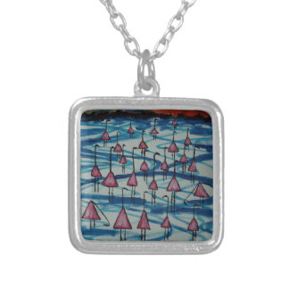 Flamingos in salty lake silver plated necklace