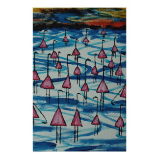Flamingos in salty lake stationery