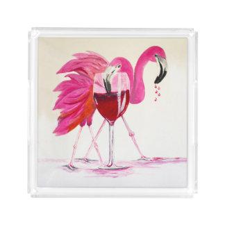 Flamingos In Wine Acrylic Tray