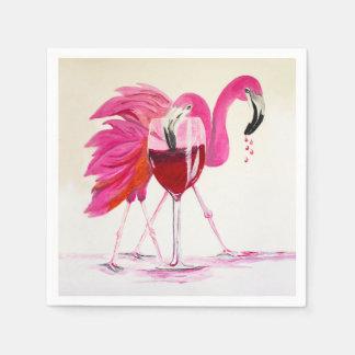 Flamingos In Wine Disposable Napkin