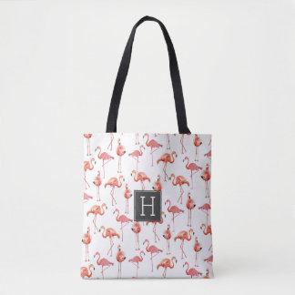 Flamingos Monogram Pattern | Tote bag