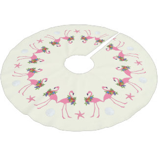 Flamingos n Sand Dollars Tropical Christmas Brushed Polyester Tree Skirt