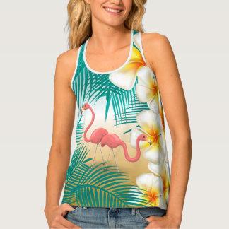 Flamingos on a Teal Tropical Beach Design Tank Top