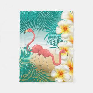 Flamingos on a Teal Tropical Beach Paradise Fleece Blanket