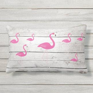 Flamingos on Beach Sign - Outdoor Pillow