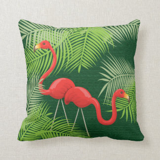 Flamingos on Dark Green with Tropical Palm Leaves Throw Pillow