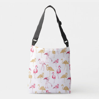 Flamingos on White Background. Crossbody Bag