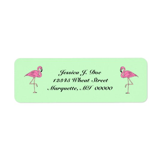 Flamingos pair of pink Return Address Labels