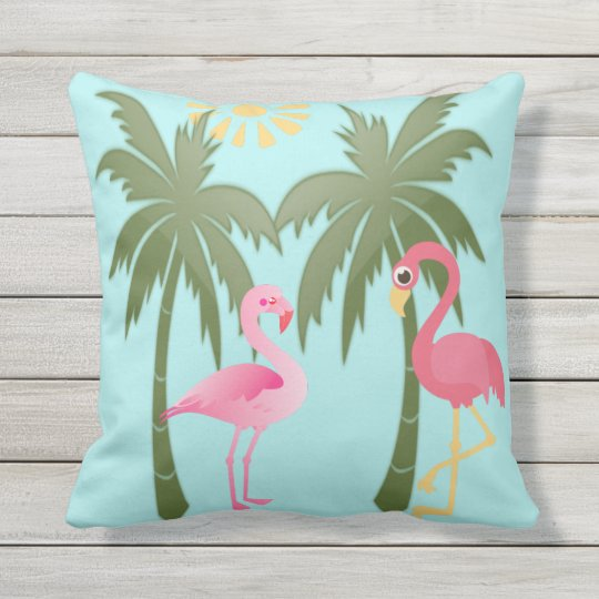 Flamingos & Palm Trees, on pale turquoise Throw Pillow