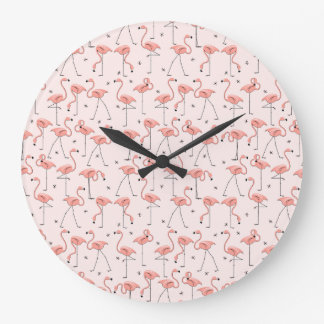 Flamingos Pink clock round