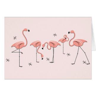 Flamingos Pink Group greetings card