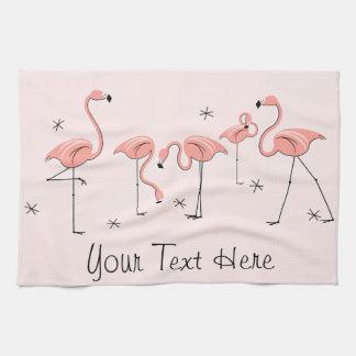 Flamingos Pink Group Text kitchen towel