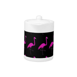 Flamingos pink on black